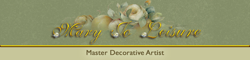 Mary Jo Leisure sells her original art, giclees, pattern packets, books, DVDs, painting surfaces for the deocorative artist.